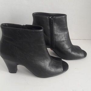 Aerosoles black Disco peep toe ankle boots